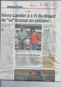 Article dans La Provence du 08 août 2014