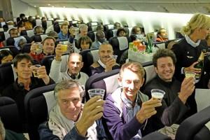 Les skippers trinquent dans l'avion