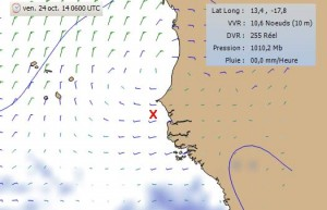 Prévisions des vents pour vendredi 6 h UTC