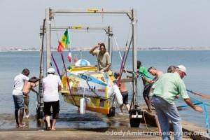 Mise à l'eau des premiers bateaux