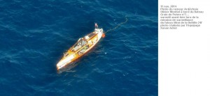 Photo d'Olivier Montiel prise par un avion de la Marine Nationale