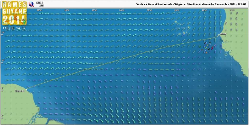Superposition de la position des skippers et des vents