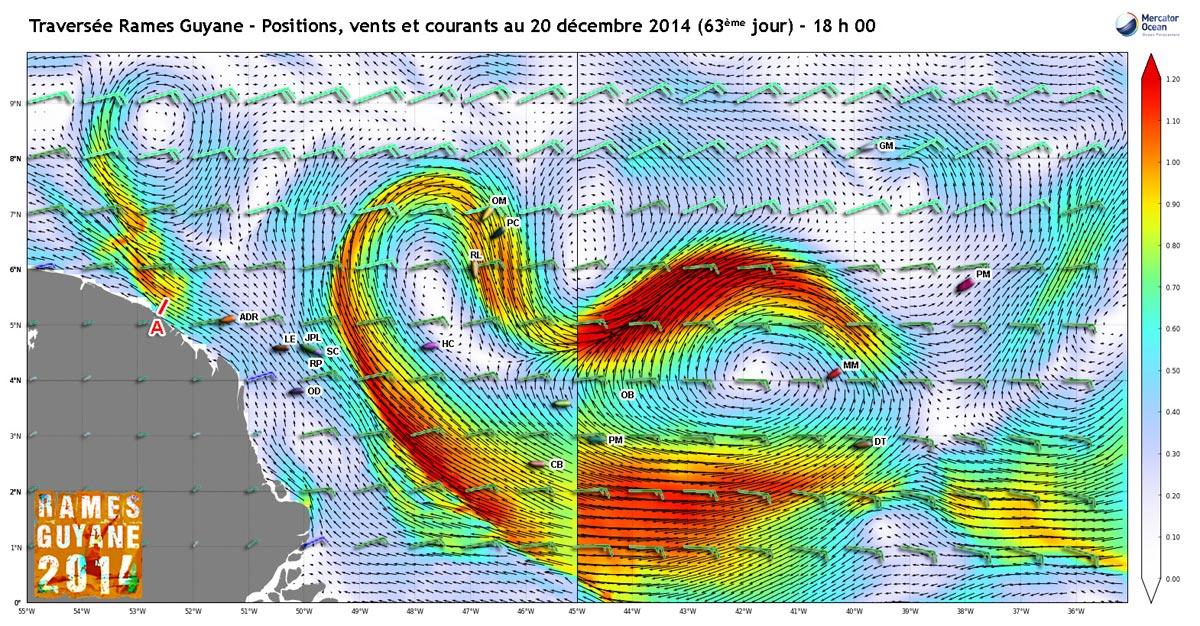 Positions, vents et courants au 20 décembre