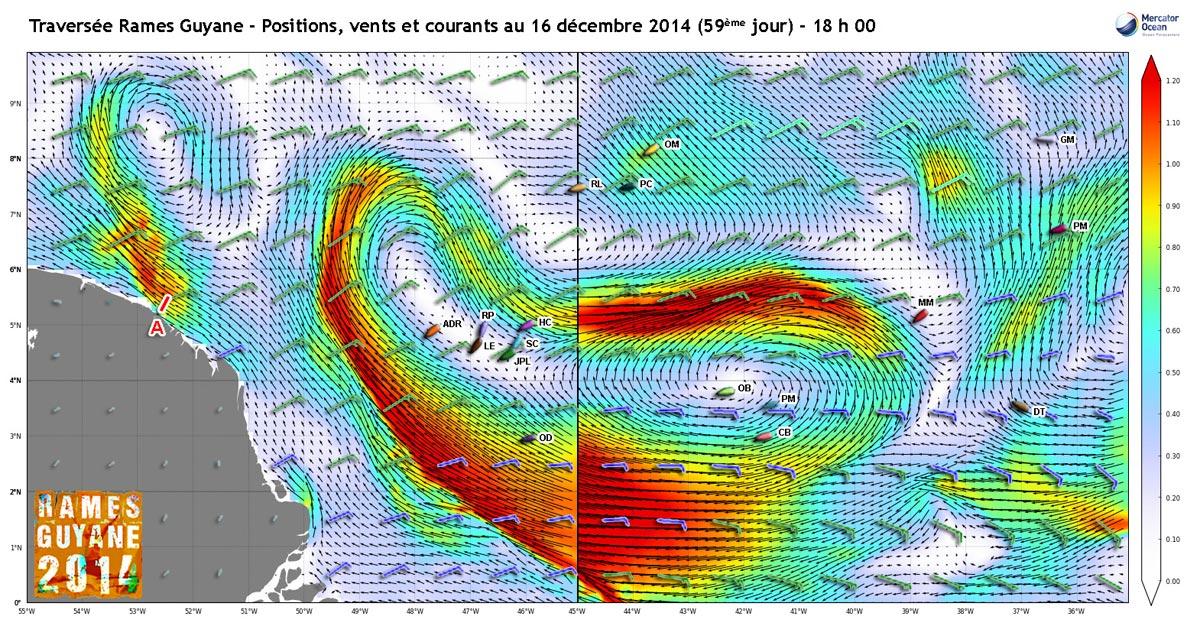 Positions, vents et courants au 16 décembre