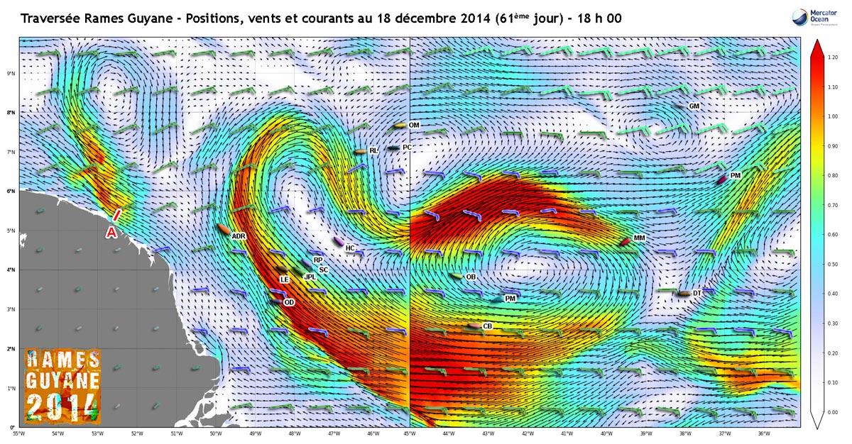 Positions, vents et courants au 18 décembre
