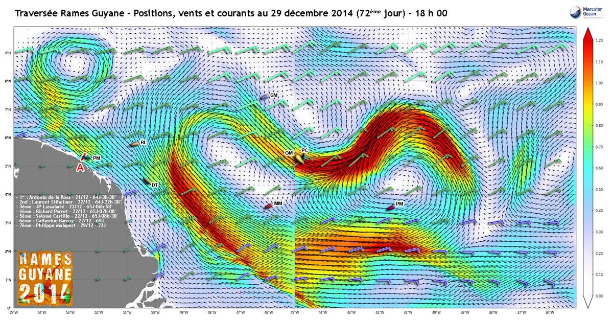 Positions, vents et courants au 29 décembre