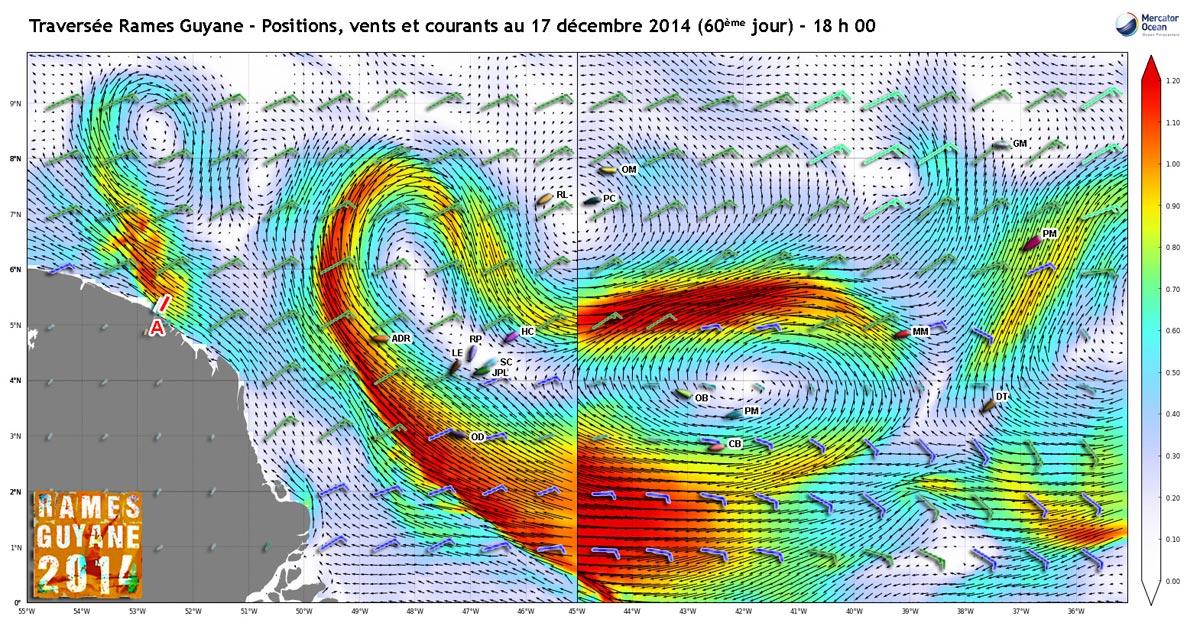 Positions, vents et courants au 17 décembre