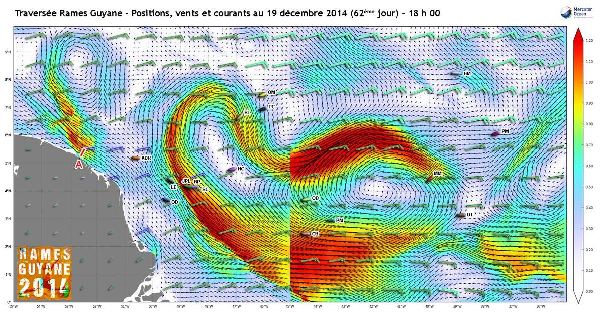 Positions, vents et courants au 19 décembre