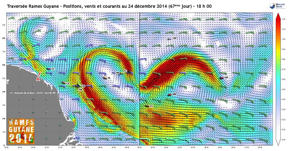 Positions, vents et courants au 24 décembre