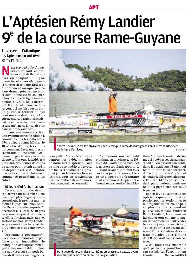 Article dans La Provence, datée du 2 janvier 2015